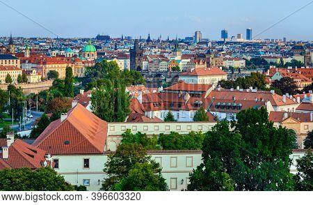 PRAGUE, CZECH REPUBLIC - AUGUST 31, 2015: Aerial or rock view over the historical city of Prague in Czech Republic