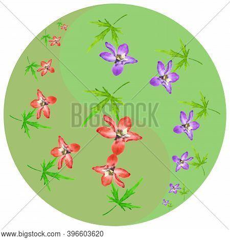Floral Symbol Yin-yang. Delphinium, Larkspur. Geometric Pattern Of Yin-yang Symbol, On Colored Backg