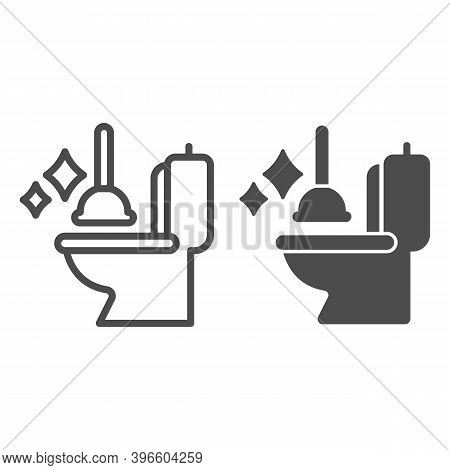 Toilet Bowl And Plunger Line And Solid Icon, Hygiene Routine Concept, Restroom Cleaning Tools Sign O