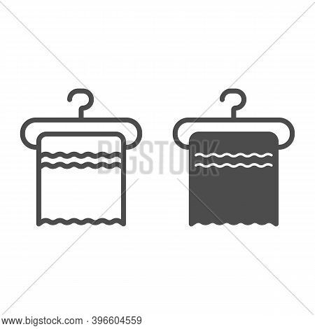 Towel On A Hanger Line And Solid Icon, Hygiene Routine Concept, Clean Hygiene Cotton Textile Sign On
