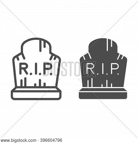 Grave With Inscription Rip Line And Solid Icon, Halloween Concept, Grave With Scratches Sign On Whit