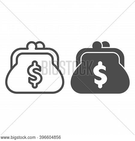 Purse With Dollar Line And Solid Icon, Black Friday Concept, Retro Purse For Coins Sign On White Bac