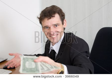 The Man With Money In Hands