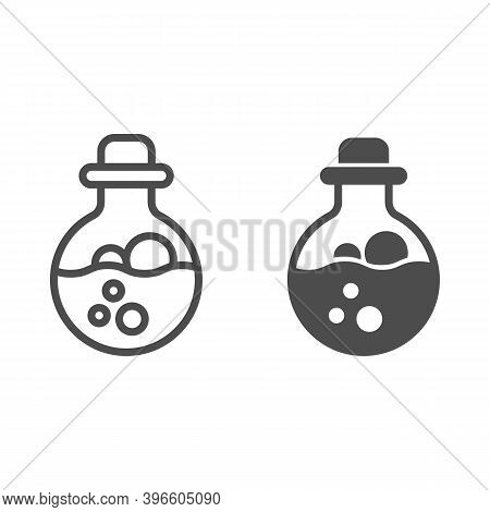 Potion Scale With Bubbles Line And Solid Icon, Halloween Concept, Mana In Bottle With Stopper Sign O