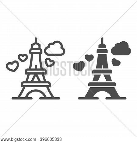 Eiffel Tower With Heart Line And Solid Icon, Valentine Day Concept, Romance Travel Sign On White Bac