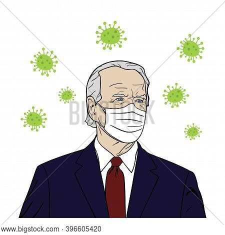 President Of Usa, Joe Biden Wearing Mask Portrait, Coronavirus, Flat Design, Pop Art Design, Vector,