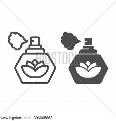Perfume With Lotus Flower Line And Solid Icon, Hygiene Routine Concept, Spray Fragrance Sign On Whit