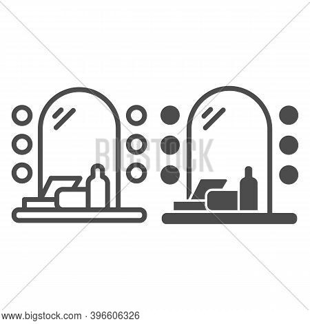Mirror With Lamps And Cosmetic Set Line And Solid Icon, Makeup Routine Concept, Dressing Table Sign