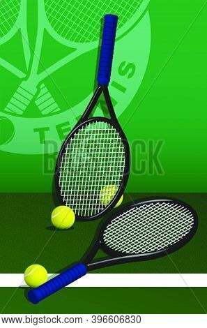 Tennis Rackets And Balls Lie On Lawn Of Tennis Court. Sport Equipment And Inventory. Realistic Vecto