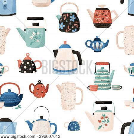 Seamless Pattern With Teapots And Cups Hand Drawn On White Background. Kitchen Crockery For Wallpape
