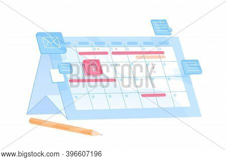 Planner Or Organizer With Scheduled Appointments And Deadlines. Business Planning Calendar With Meet
