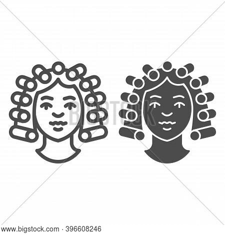 Hair Rollers On Girl Head Line And Solid Icon, Makeup Routine Concept, Hairdresser Salon Sign On Whi