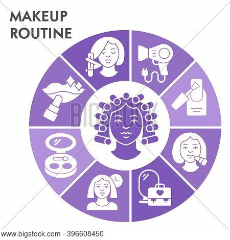 Modern Makeup Routine Infographic Design Template With Icons. Self Care Routine Infographic Visualiz