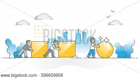 Efficiency And Productivity With Work Improvement And Effort Comparison Outline Concept. Smart Perfo