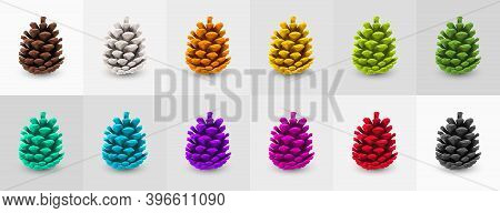 Collection Of Multicolored Painted Pine Cones. Holiday Decorations. Pine Cone Icon, Symbol, Decor, G
