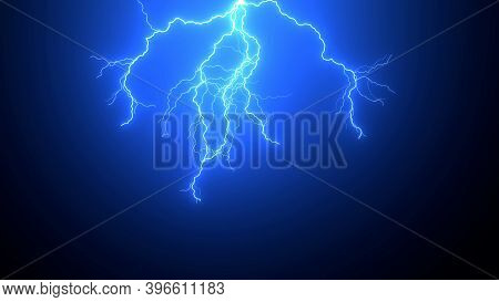 Beautiful Realistic Impact Of Lighting Strikes Or Lightning Bolt, Electrical Storm, Thunderstorm Wit