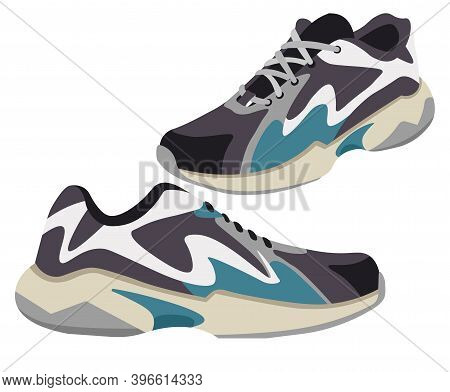 Modern Design Of Sneakers With Shoelace Vector