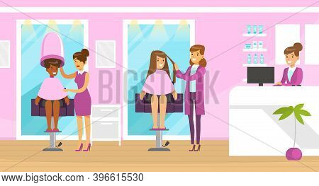Female Hairstylist Or Hairdresser Cutting And Doing Hair Vector Illustration