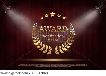 Award Nomination Emblem, Stage In Spotlight With Red Curtain Background. Movie Award Ceremony Openin