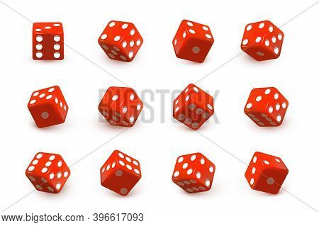 Red Dice Cubes For Gambling Set. Casino Craps And Playing Games Vector Illustration. Poker Cubes Rol