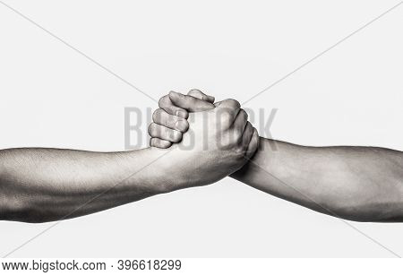 Rescue, Helping Gesture Or Hands. Two Hands, Helping Arm Of A Friend, Teamwork. Helping Hand Outstre
