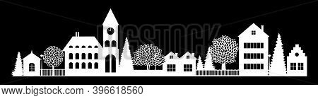 Small Town Night Silhouette Cutout Skyline With Chapel Houses Trees Black And White