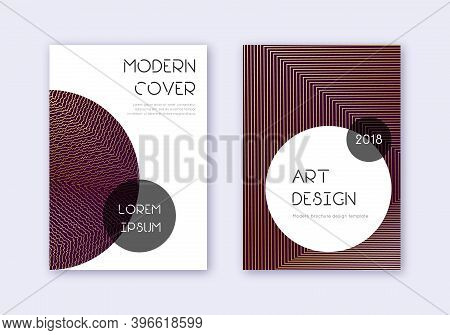 Trendy Cover Design Template Set. Gold Abstract Lines On Maroon Background. Gorgeous Cover Design. F