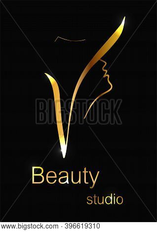 Vector Illustration Beauty Studio On The Background Of A Female Silhouette As A Logo And Brand Desig
