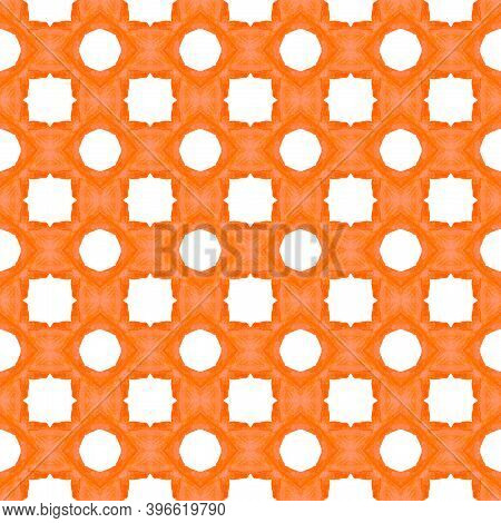 Textile Ready Lovely Print, Swimwear Fabric, Wallpaper, Wrapping.  Orange Modern Boho Chic Summer De