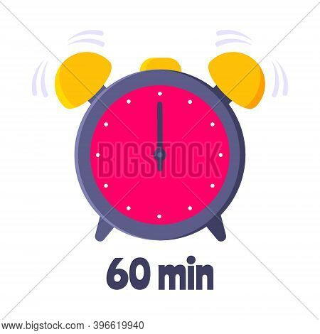 Sixty Minutes On Analog Clock Face Flat Style Design Vector Illustration Icon Sign Isolated On White