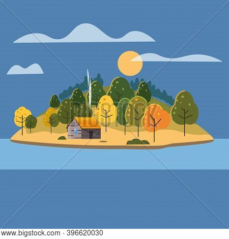 Beautiful Island Landscape View On River Or Lake, Autumn, Mountains. Forest Lonely House. Vector Ill