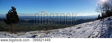 Winter Panoramic View At Vista Point Almfrieden At Hohe Wand Mountain In Lower Austria / Active Life