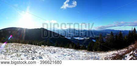 Wonderful Winter Panoramic View: Beautiful View From At Hohe Wand Mountain In Lower Austria