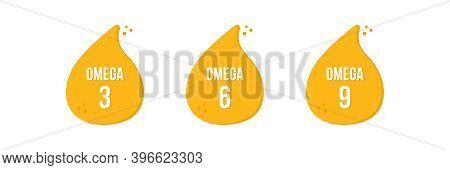 Omega 3, 6, 9 Fatty Acids, Vitamin Oil Drops. Vector Signs, Symbols, Icons.