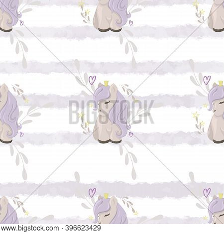 Seamless Pattern With Cute Ponies On A Watercolor Background. Decorative Wallpaper For The Nursery I