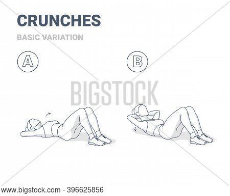 Crunch Female Workout Exercise Guide Outline Illustration