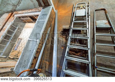 Interior Of Apartment During Construction, Remodeling, Renovation, Extension, Restoration And Recons