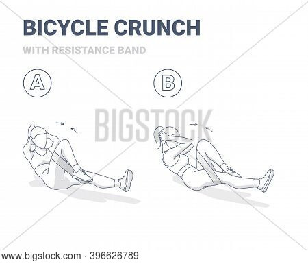 Bicycle Crunch Abs Female Home Workout Exercise Guidance Outline Concept