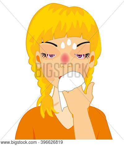 Vector Illustration Of The Girl By Sick Flu