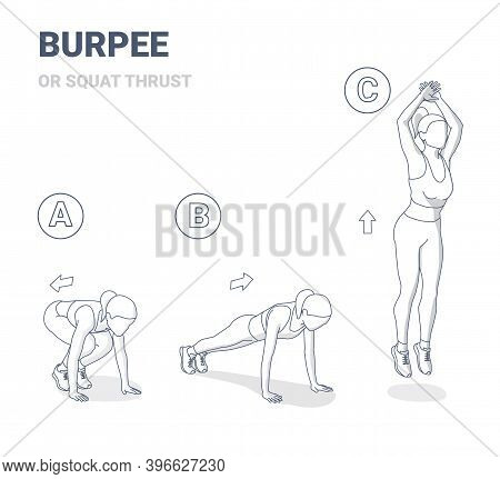 Squat Thrust Burpee Female Home Workout Exercise Guide Outline Black And White Illustration Concept.