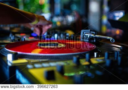 Professional Dj Turntable On Stage In Night Club.retro Musical Insturment For Disc Jockey.djs Setup