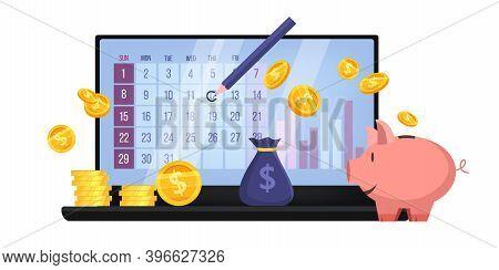 Budget Planning Or Business Audit Financial Vector Concept With Laptop, Calendar, Piggy Bank, Money