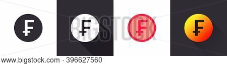 Swiss Franc Icons. Swiss Franc Sign. Money Symbols. Money Icon Concept. Flat Icons In A Different St
