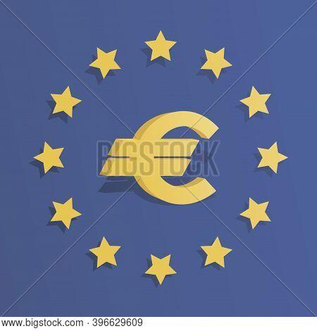 European Union Emblem, Icon. Brussels. 3d Symbol. Official Color Flag, Stars. European Union Project
