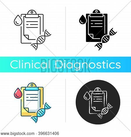 Dna Test Icon. Genetic Determination. Clipboard With Medical Research Result. Blood Examination. Gen