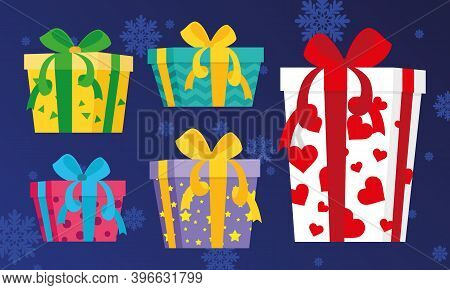 Set Of Gift Boxes Vector, Presents Isolated. Colorful Wrapped. Sale, Shopping Concept. Collection Fo