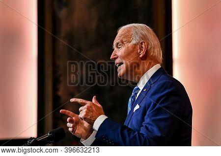 Us President Joe Biden Delivers A Thanksgiving Address At The Queen Theatre In Wilmington, Delaware,
