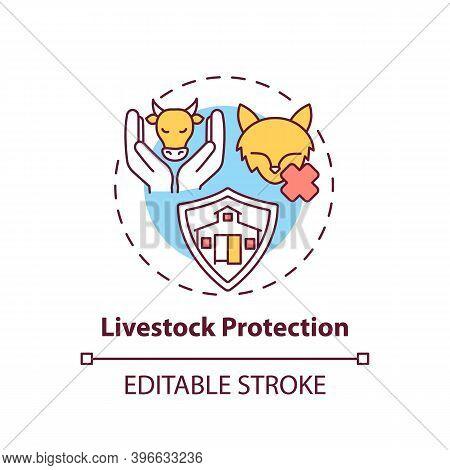 Livestock Protection Concept Icon. Pets Abuse. Domesticated Animal Welfare. Ranch Mammals Care Idea