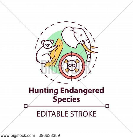 Hunting Endangered Species Concept Icon. Biodiversity Loss. African Animal Abuse. Australia Wildlife