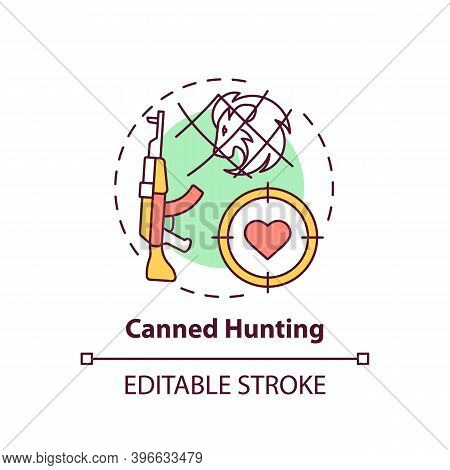 Canned Hunting Concept Icon. Aim With Rifle. Endangered Nature. Animal Abuse And Wildlife Conservati